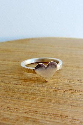 Sterling silver heart ring, love anniversary gift, bridesmaid, wedding