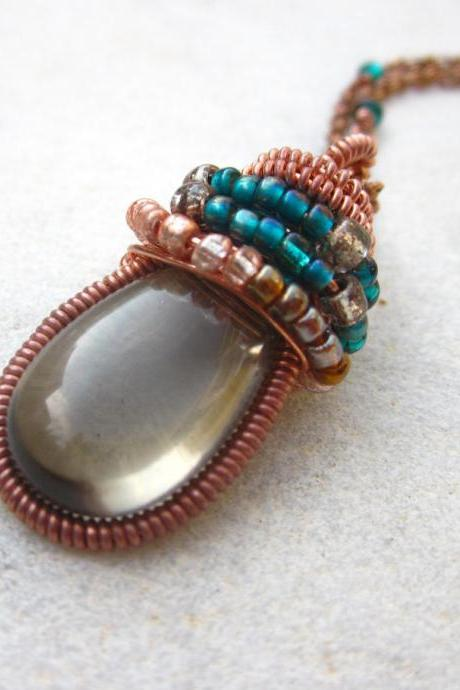 Wire wrapped smoky quartz briolette copper & seed beads