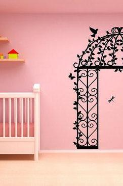 Gazebo with Vines Birds Butterflies and Dragonflies Garden Wall Mural Vinyl Wall Decal 22130