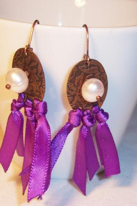 Antique copper earrings with pearls and ribbons leverbacks