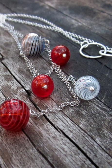 Cascading bubbles necklace - hollow glass beads and sterling silver chain