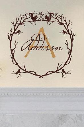 Monogram Woodland Branch Wreath With Squirrels and Birds Vinyl Wall Decal 22213
