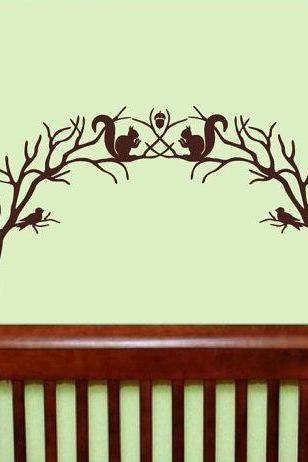 Wall Decal Woodland Branch Arch With Squirrels and Birds Vinyl Wall Decal 22211