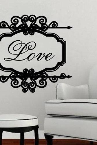 Love Vintage Look Sign Frame Vinyl Wall Decal 22199