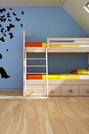 Child Swinging from Butterfly Tree Vinyl Wall Decal Mural 22174