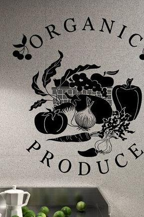Wall Decal Organic Produce Sign With Vegetables and Fruit 22135