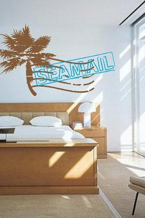 Palm Tree Sea Mail Stamp Vinyl Wall Decal 22065
