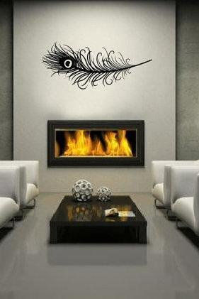 Wall Decal Peacock Feather Bird Vinyl Wall Decal 22167