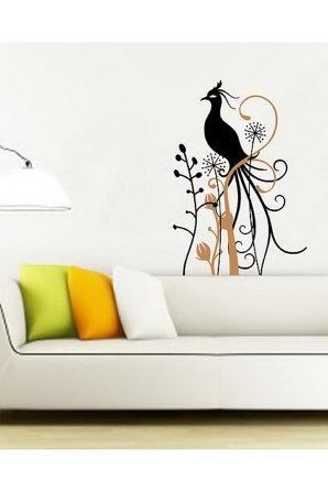 Wall Decal Peacock with Swirly Branch and Flowers Vinyl Wall Decal 22125