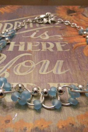 FREE SHIPPING - Glass Beaded Linked Necklace Baby Blue Glass Silver Plated Beads