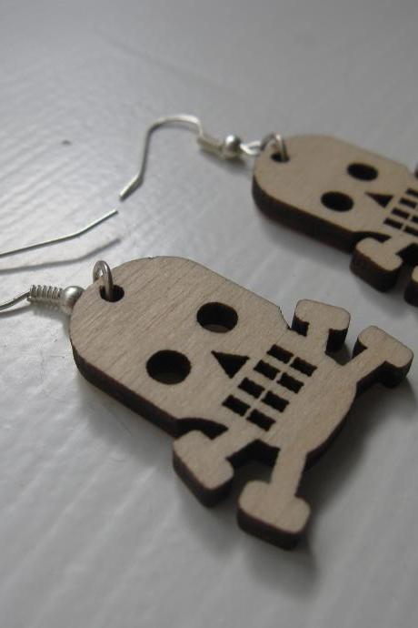 wooden laser cut earrings - Skulls