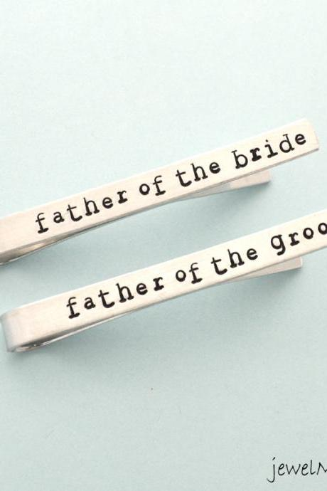 Tie Clip set for father of the groom, father of the bride, Personalized metal Tie Clip, custom Tie Clip, hand stamped Tie clip