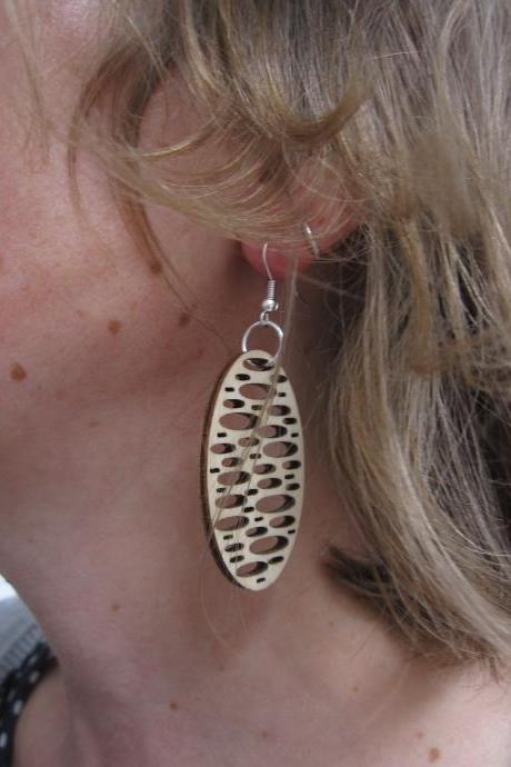 Rain drops - laser cut wooden earrings