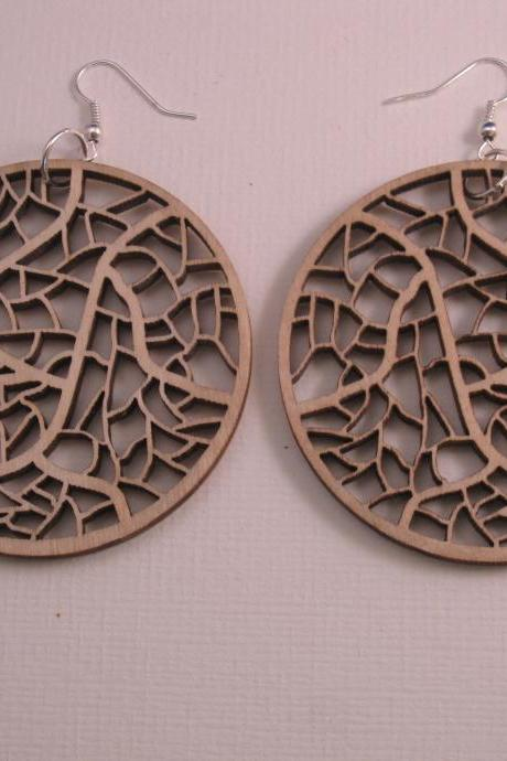 wooden laser cut earrings - Leave nerves