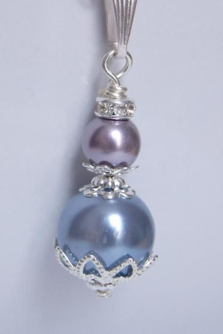 Purple Bridesmaid Jewellery, Vintage inspired vintage pearl pendant.