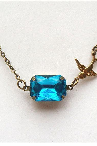 Antiqued Brass Bird Blue Quartz Necklace