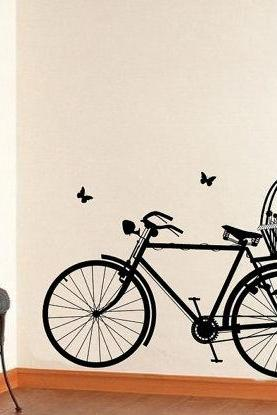 Wall Decal Bicycle with Flower Basket and Butterflies Vinyl Wall Decal 22129