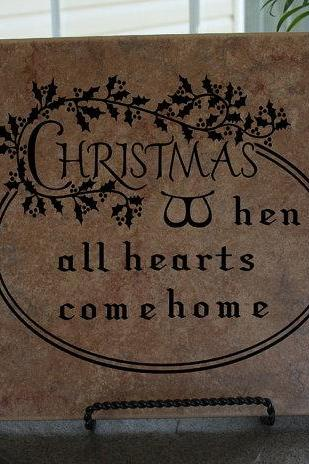 Vinyl Decal Christmas When All Hearts Come Home Vinyl Tile or Wall Decal 22007