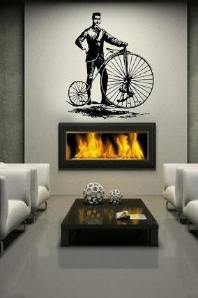 "Wall Decal Bicycle Antique Vintage Style Bicycle and Man Large Vinyl Wall Decal 44""W x 51.5""H 22087"