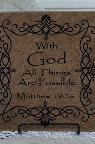 Vinyl Decal Bible Scripture With God all Things are Possible Matthew 19 26 Vinyl Tile Decal 22051