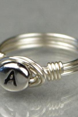 Any Initial- Silver Wire Wrapped Monogram Ring- Custom Made to Size