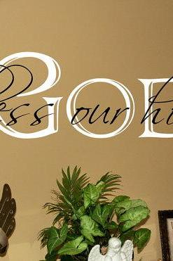 God Bless Our Home Vinyl Wall Decal 22058