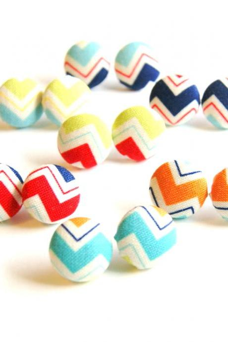 Chevron Button Covered Stud Earrings Set - Make Your Own