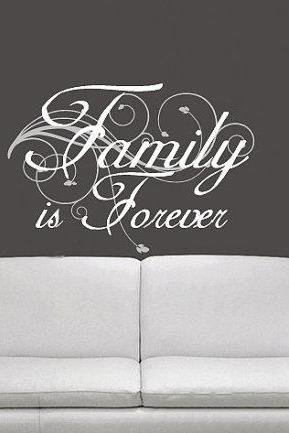 Wall Decal Family is Forever with Swirl Vines and Leaves 22176