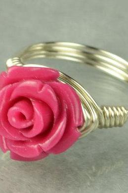 Sterling Silver Wire Wrapped Ring with Hot Pink Gemstone Rose- Custom Made to Size