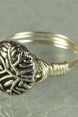 Wire Wrapped Sterling Silver Ring with Round Tree Branch Bead- Custom Made to Size