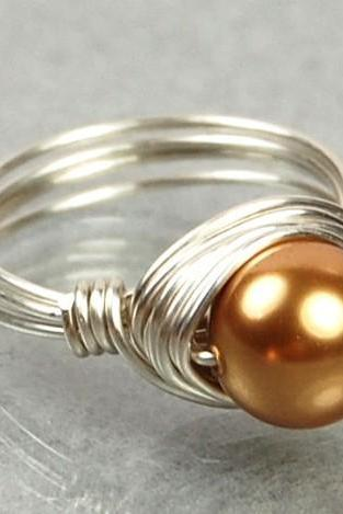 Pearl Ring in Sterling Silver - Wire Wrapped Bright Gold Swarovski Pearl- Custom Made to Size