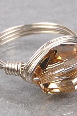 Wire Wrapped Sterling Silver Ring with Golden Shadow Swarovski Crystal- Custom Made to Size