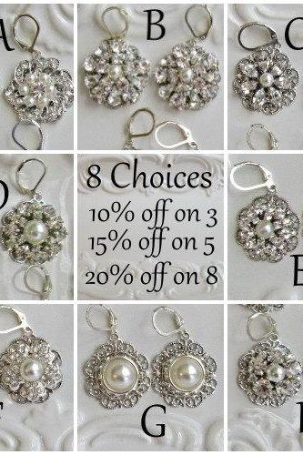 Wedding Jewelry, 8 Choices, Bridal Earrings,Crystal and Pearl Dangle Drop Earrings, Bridal Earrings