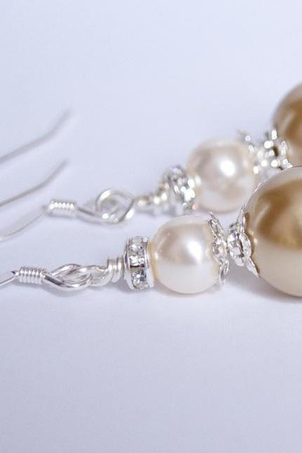 Bridesmaids Earrings - Gold and Ivory Pearl Earrings - Bridesmaids Jewelry