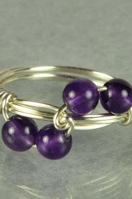 Sterling Silver Wire Wrap Ring with Purple Amethyst Beads- Wave Design- Custom Made to Size
