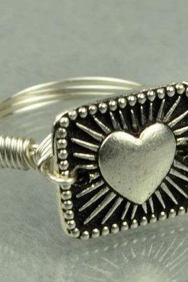 Sterling Silver Wire Wrapped Heart Ring- Custom Made to Size