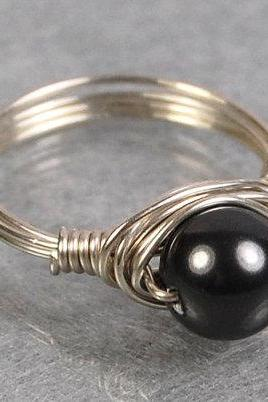 Sterling Silver Wire Wrapped Ring - Dark Grey Swarovski Pearl- Custom Made to Size