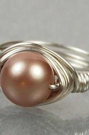 Sterling Silver Wire Wrapped Ring- Almond Swarovski Pearl- Custom Made to Size