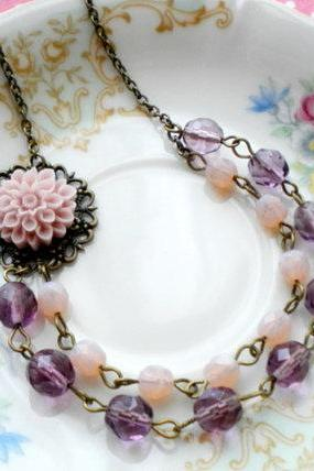 Purple Flower Cabochon Necklace