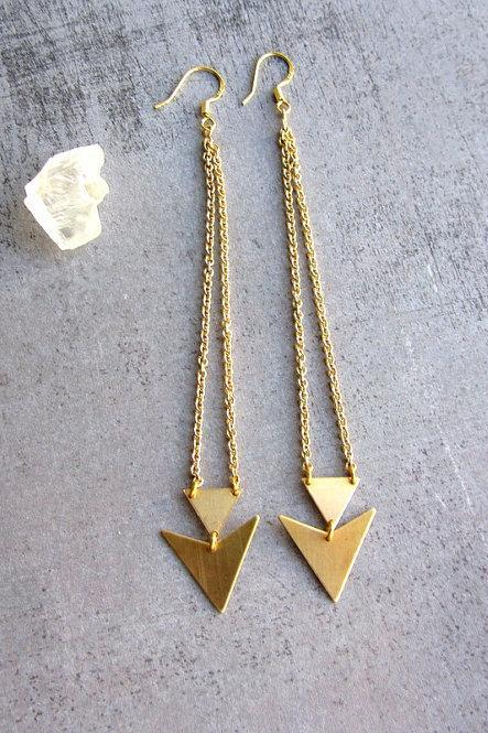 Triangle gold brass long earrings, geometric jewelry, arrow, chevron,