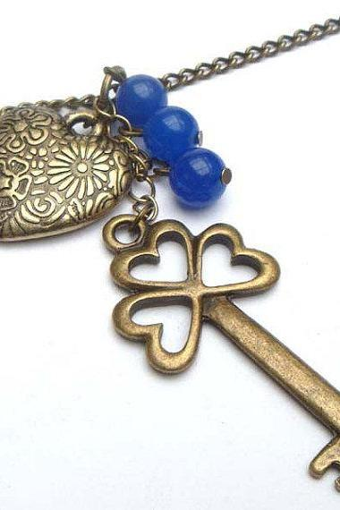 Antiqued Brass Key Heart Blue Jade Necklace