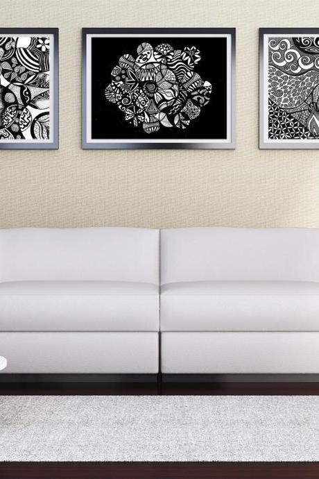 Printable Wall Art Poster DIY - 3 Black & White SALE