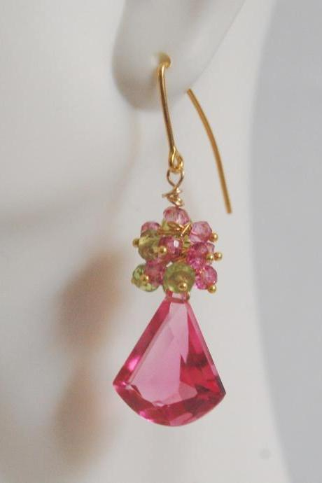 Gemstone Hot Pink Rubelite Corundum Dangle Earrings - Peridot,Pink quartz cluster Dangle earrings