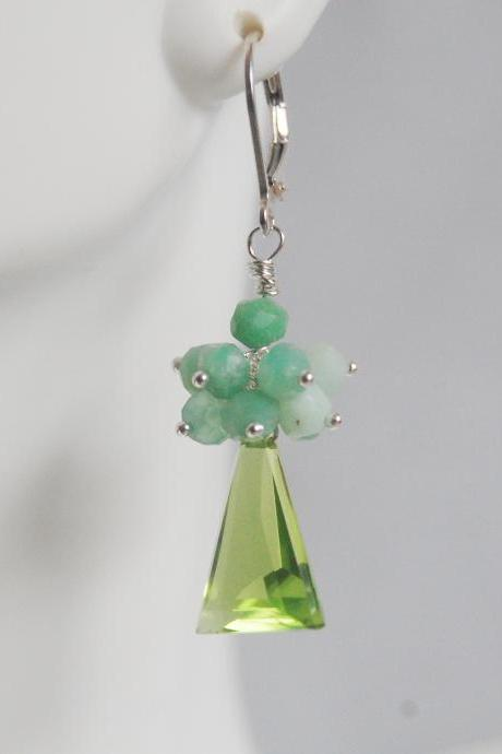 Gemstone Peridot Quartz Cluster Dangle Earrings - Natural Chrysoprase cluster dangle drop Earrings