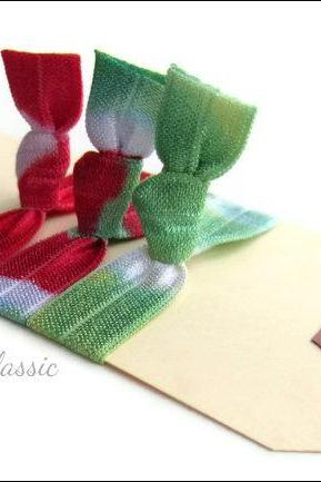 Elastic Hair Ties - Set of 3 - Holiday Classic Collection - Tie Dyed Hair Ties - Mane Accessory