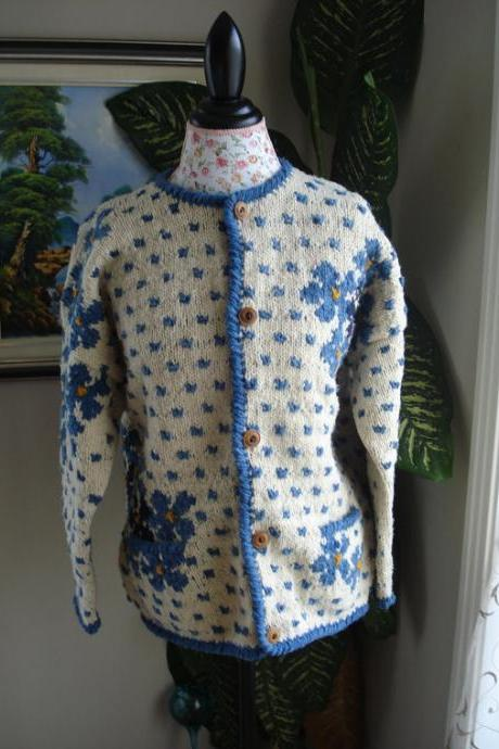 Ready to ship/Handmade Knitted Art Wool Coat with 2 pockets/ Cardigan/ will fit Size Large and XL