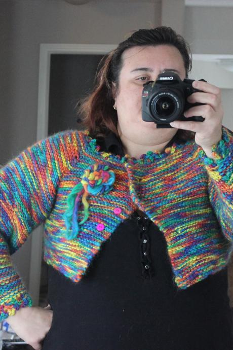 Ready to ship /Gorgeous Handspun- Hand Knitted-HANDMADE Rainbow Shrug -Bolero L,XL or even will fit XXL