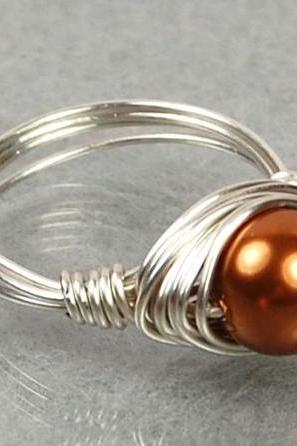 Pearl Wire Wrapped Ring- Sterling Silver with Copper Swarovski Pearl- Custom Made to Size