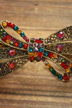 Colorful Rhinestone Bow Barrette Hair Clip