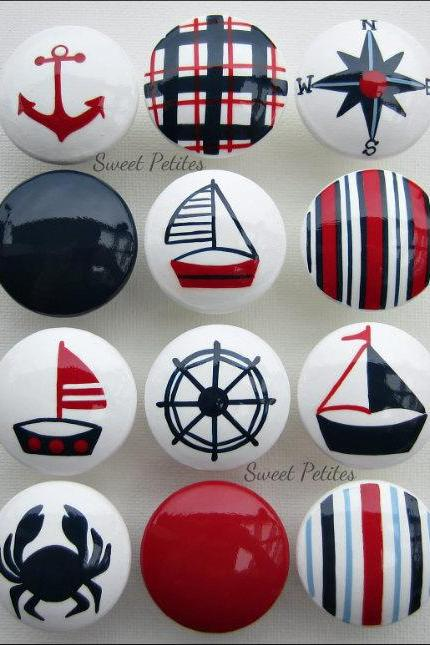 Hand Painted Knob Dresser Drawer Nautical Sailboat Crab Helm Navy Blue Red White